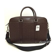 New Coach F72230 Signature Leather Slim Briefcase Crossbody Bag Mahogany