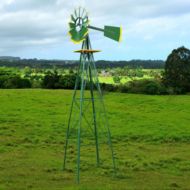 Merveilleux 8FT Green Metal Windmill Yard Garden Wind Mill Weather Vane Weather  Resistant