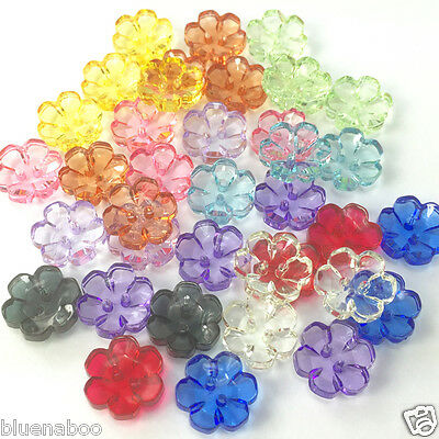 Gorgeous Sparkly Clear Cut Round Buttons 2 holes 15mm or 13mm 4 Colours per 10