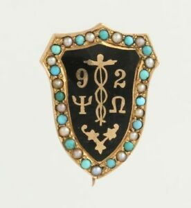 Psi-Omega-Vintage-Confraternita-Distintivo-14k-Oro-Giallo-Shield-Crest
