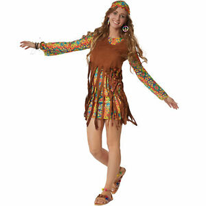 Kostum Damen Hippie Boho Squaw 60er 70er Flower Power Retro Fasching