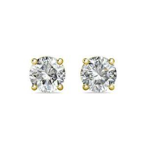 Industrieux 14k Or Jaune Panier Créé Diamant Rond Brillant Vis Arrière Clous D'oreilles-afficher Le Titre D'origine