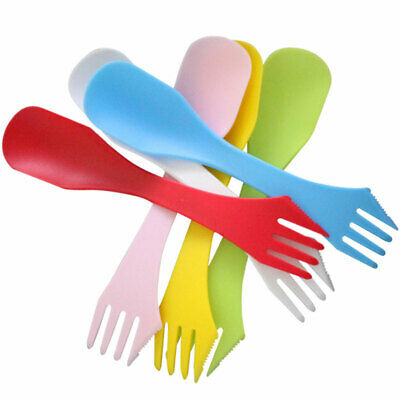 6 pcs//pack Plastic Spork Spoon Fork Outdoor Camping Hiking Traveling