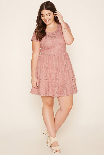 Forever 21 Plus Size Dusty Pink Lace up Back  Floral Lace Dress 1X/2X