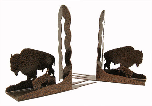 Buffalo Bison copper vein metal bookends sold as a set
