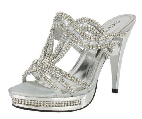 Ladies Stiletto High Heels Wedding Evening Prom Party Silver Sandals Size 5
