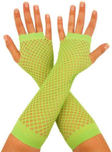 Neon Fingerless Fishnet Mesh Gloves 1980s