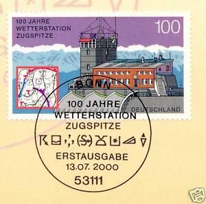 Fringant Rfa 2000: Station Météo Frontales Nº 2127 Avec Bonner Ersttags Cachet! 1a! 154-l! 1a! 1610fr-fr Afficher Le Titre D'origine