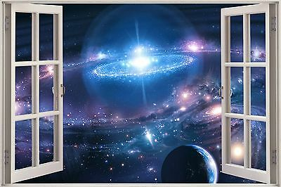 Huge 3D Window Fantasy Sky World View Wall Stickers Film Mural Decal Wallpaper