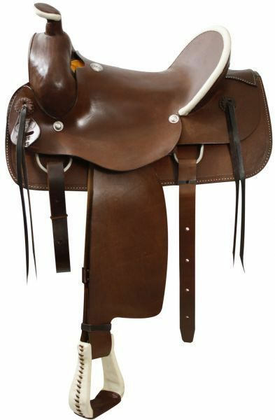 Circle S Roping style saddle with a hard leather seat. 15, 16, 17, 18