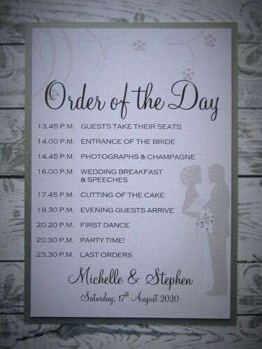 Personalised Wedding Sign Order of the Day 39 Colours V2N4 A5//A4//A3