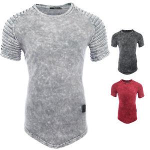 Herren-T-Shirt-Vintage-Look-Batik-Print-Asymetric-Style-Lang-Shirt-RX-9053-NEU