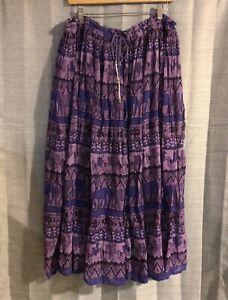 VTG-Silver-Stream-Purple-Elephant-Hippie-Boho-Peasant-Maxi-Skirt-One-Size
