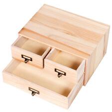 Great 3 Drawers Wooden Jewelry Pastel Organizer Storage Box Art Small Wood  Cabinet Box