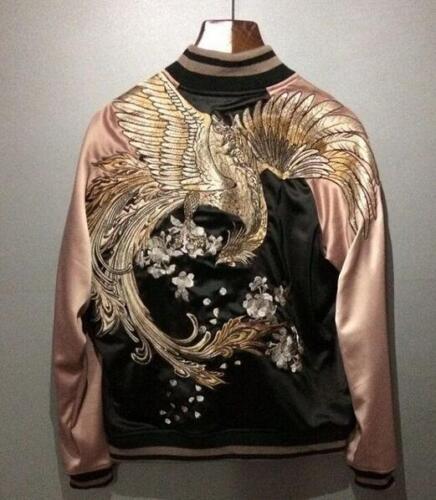 Mens Japanese Embroidered Sukajan Souvenir Jacket Bomber Vermilion Birds Coat