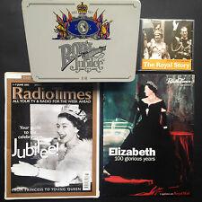 4x QUEEN ELIZABETH items Silver Jubilee 77 Stationery Tin RADIO TIMES Windsor CD