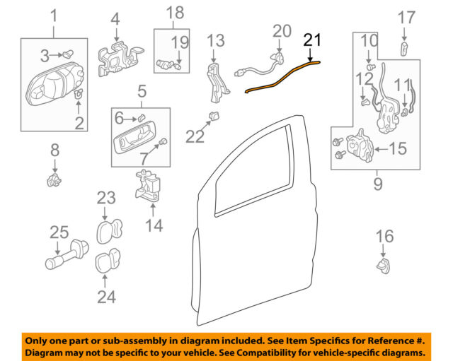 Genuine Honda 72171-S9A-E01 Door Handle Rod