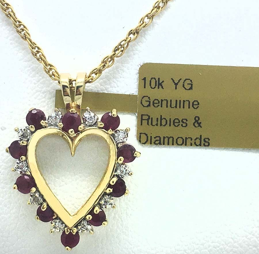 NATURAL RUBIES & DIAMONDS HEART PENDANT 10K gold  New With Tag & free appraisal