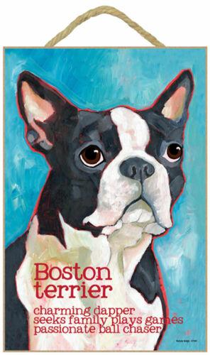 Boston Terrier Traits /& Characteristics Sign 7.5 x 10