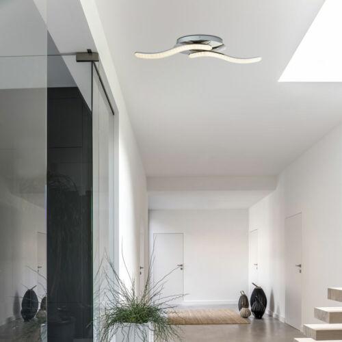 Luxus LED Decken Lampe Kristall Wohn Ess Zimmer Strahler Wellen Leuchte silber