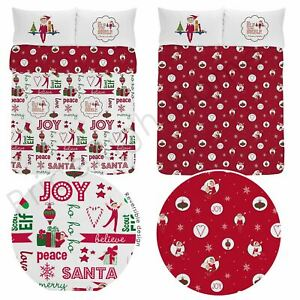 Elf-On-The-Shelf-Double-Coton-Housse-de-Couette-et-Taie-Set-Noel-Literie-Neuf