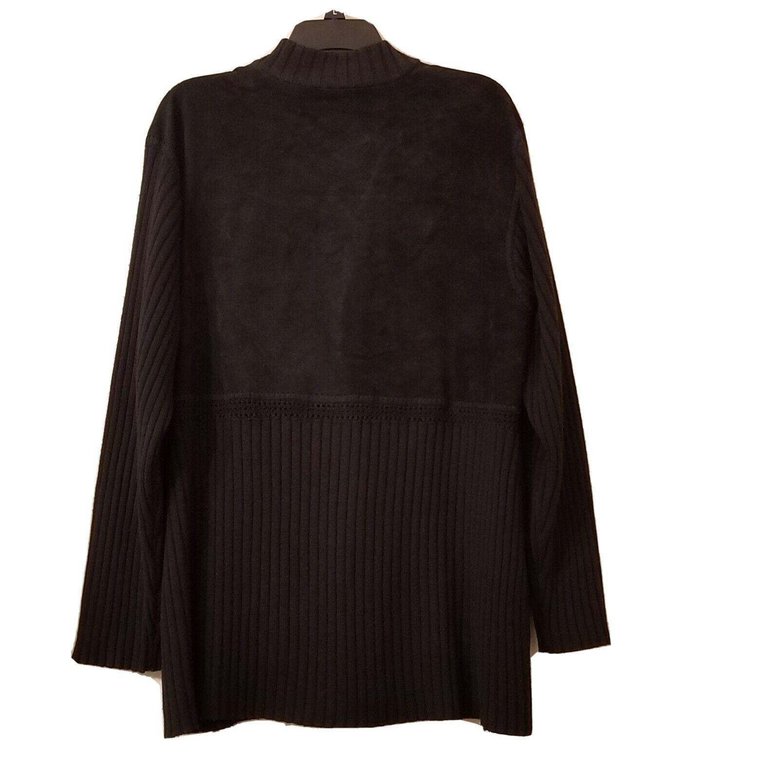 J Jill Cardigan  Wool/suede Leather Blend Woven L… - image 5