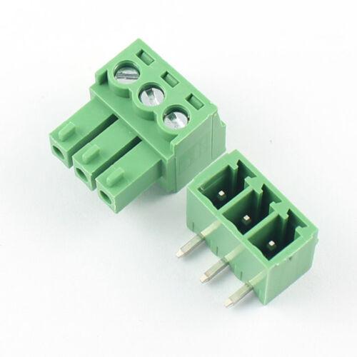 10Pcs 3.81mm Pitch 3 Pin Angle Screw Pluggable Terminal Block Plug Connector