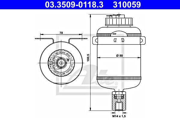 ATE Bremsflüssigkeit Ausgleichsbehälter 03.3509-0118.3