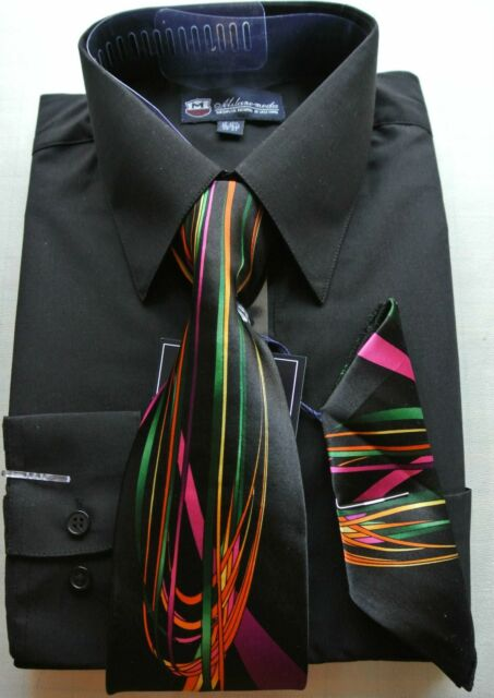 Men's Dress Shirt w/ Tie and Handkerchief Long Sleeve Style SG21