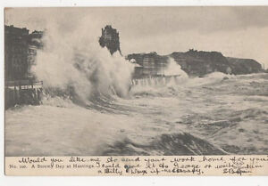 A Stormy Day At Hastings 1905 Postcard 124a - Aberystwyth, United Kingdom - A Stormy Day At Hastings 1905 Postcard 124a - Aberystwyth, United Kingdom