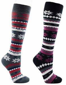 2 Pairs Ladies Foxbury Black Charcoal Fair-isle Knee High Cotton Sock, Size 4-7