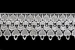"Lily 3-3/8"" White Venice Lace Ribbon Trim By Yard"