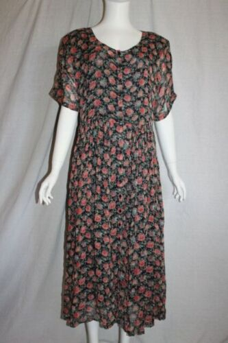 vtg 80s STAR OF INDIA womens vintage dress navy pi