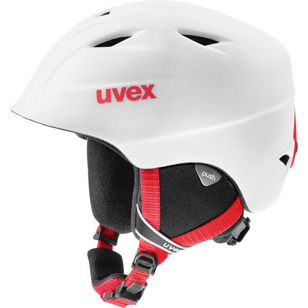 NEW UVEX AIRWING 2 PRO SKI BOARDING HELMET 52 53 54 JUNIOR KID WHITE   RED MATTE