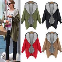 Womens Hoodie Coat Jacket Top Hooded Zipper Sweatshirt Cardigan Outwear UK 8-20