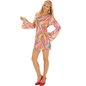 d guisement pour femme disco hippie multicolore robe 60 70. Black Bedroom Furniture Sets. Home Design Ideas