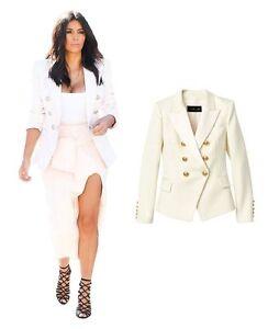 BALMAIN-x-H-amp-M-White-Double-Breasted-Wool-Satin-Blazer-Jacket-EUR-42-US-12-UK-16