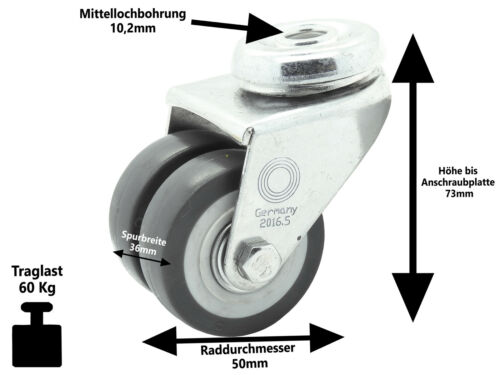 8 x Doppelrolle Rückenloch Lenkrolle Transport Schwerlast Rolle Ø 50mm Lenk-Lenk