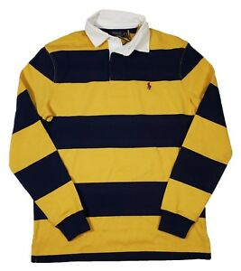 00b35ce4295 Polo Ralph Lauren Men's Yellow/Navy Stripe Iconic Rugby Classic Fit ...