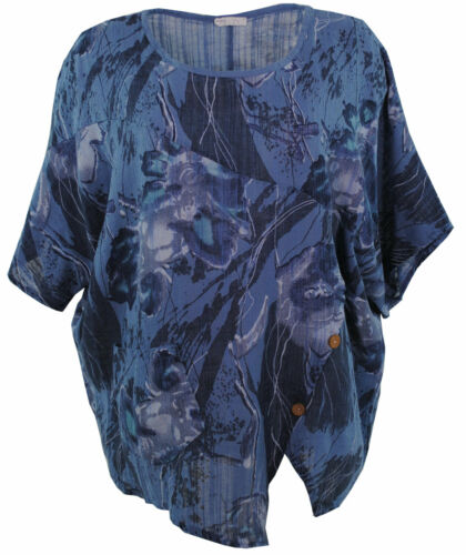 Womens Italian Lagenlook Floral Slant 3 Button Front Linen Boxy Tunic Top Blouse