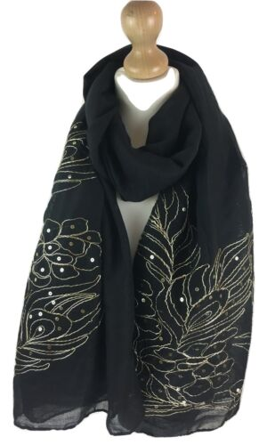 NEW WOMEN FASHION SCARVES EMBROIDER LEAF LARGE BLACK GOLD HEAD SCARF HIJAB