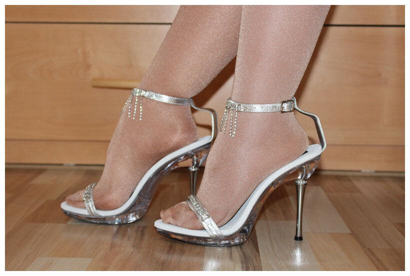 Pleaser Sandaletten Heels Gr. 36 + 37 High Heels Sandaletten Excite-463 silberfarben (#2147) 786cd6