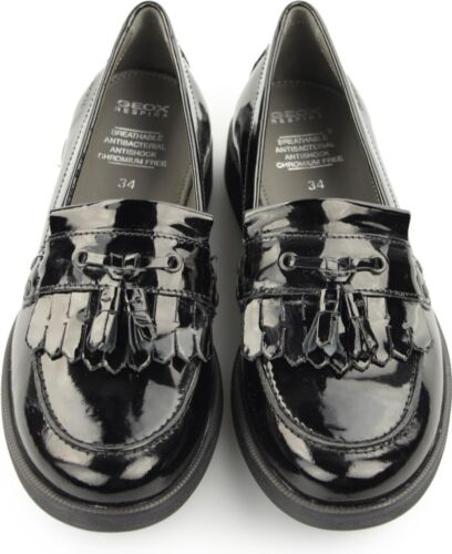 GEOX Girls Patent Leather Lace Up Touch Fasten /& Buckle Up Smart School Shoes