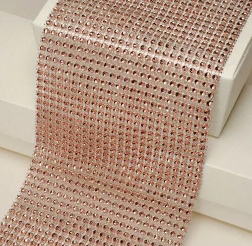 Rose gold diamanté mesh ribbon bridal cake crafts