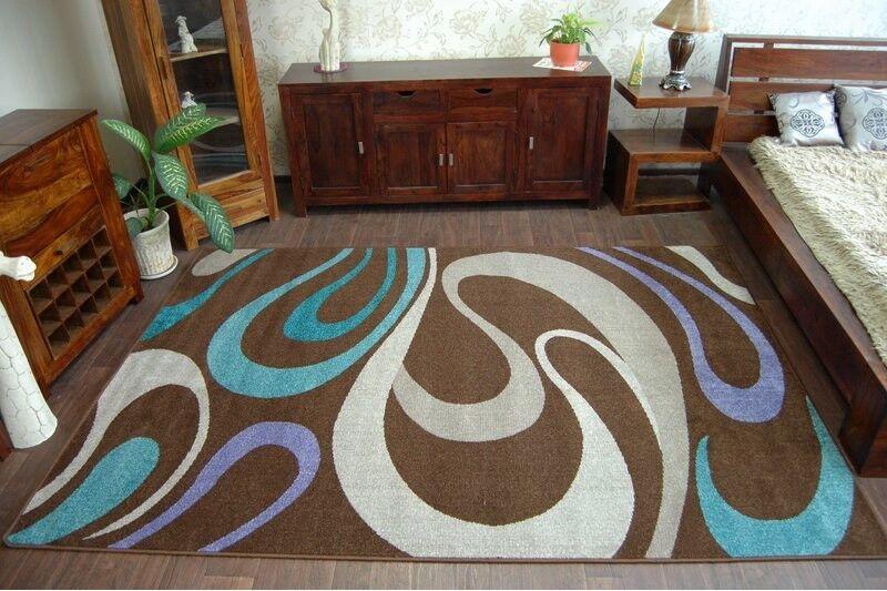 Modern weich Teppich 'BOLOGNA' braun, wellen, modische Designs Qualität Qualität Qualität 2cd1fa