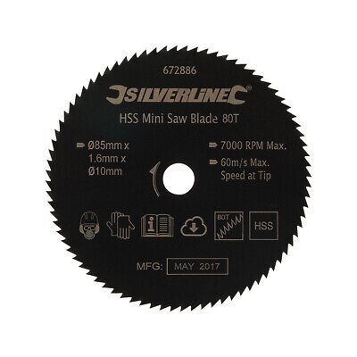 für Holz Mini-HSS-Sägeblatt D 85 x L 10 NE-Metalle Kunststoff 80 Zähne