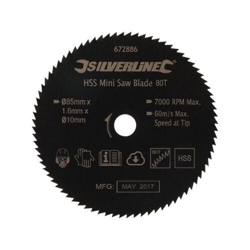 Mini-HSS-Lame de scie D 85 x L 10 métaux non ferreux plastique 80 dents pour bois