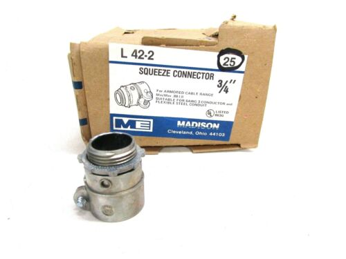 """LOT of 25 MADISON 3//4/"""" SQUEEZE CONNECTOR FOR ARMORED CABLE /& FLEX CONDUIT L-42-2"""