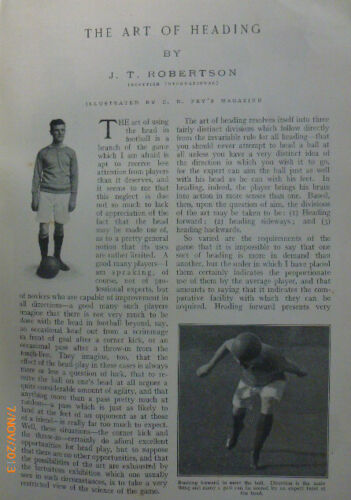 J-T-Robertson-Rangers-FC-Scotland-Chelsea-Old-Football-Heading-Ball-Article-1906
