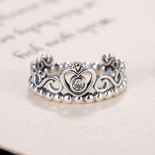 Princess Crown Silver Rhinestone Love Heart Ring Womens Girls Queen Tiara  WS